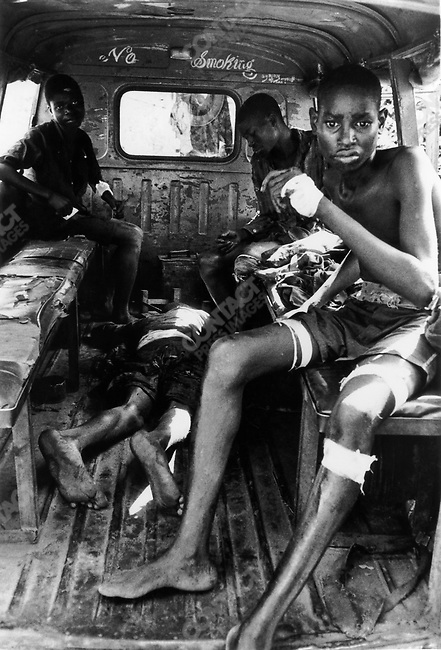 Makeshift ambulance on the frontline civil war, Biafra, Nigeria, April 1968
