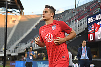 WASHINGTON D.C. - OCTOBER 11: Aaron Long #23 of the United States during warm up prior to their Nations League game versus Cuba at Audi Field, on October 11, 2019 in Washington D.C.