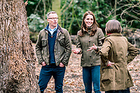 Undated photo of Kate Duchess of Cambridge, Catherine Katherine Middleton with Andree Davies (right) and Adam White (left), of Davies White Landscape Architect, discussing plans for her Back To Nature garden, which will be entered at the RHS Chelsea Flower Show in May. The woodland wilderness garden aims to get people back to nature and highlight the benefits of the natural world on physical and mental wellbeing. It will feature a swing seat, a rustic den and a campfire, with a centrepiece of a high platform treehouse. Photo Credit: ALPR/AdMedia