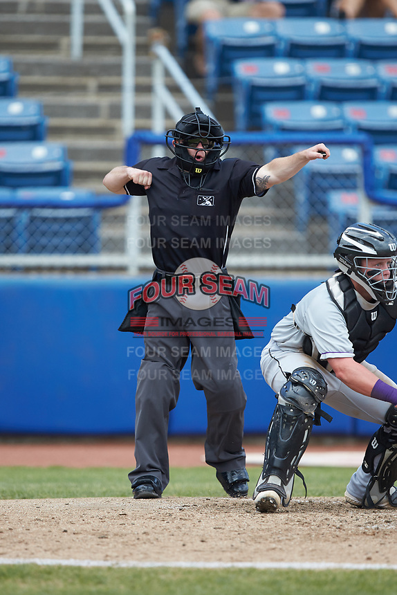 Home plate umpire John Budka calls a batter out on strikes during the Carolina League game between the Winston-Salem Dash and the San Bernardos de Salem at Haley Toyota Field on June 30, 2019 in Salem, Virginia. The Dash defeated the San Bernardos 3-2. (Brian Westerholt/Four Seam Images)