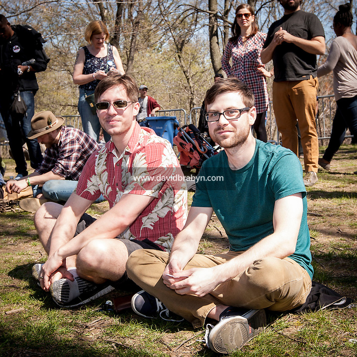 HSUL 20160317 USA, New York, Brooklyn. Democratic presidential nomination candidate Bernie Sanders rally in Prospect Park. Cody Uhrich (green shirt) and David Comalli. Photographer: David Brabyn