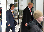 United States President Donald J. Trump and Prime Minister Shinzō Abe of Japan depart the South Lawn of the White House in Washington, DC on Friday, February 10, 2017.  The two leaders are scheduled to have dinner with their wives at Mar-a-Lago in Florida.<br /> Credit: Ron Sachs / CNP