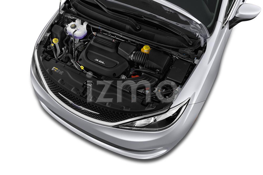 Car stock 2018 Chrysler Pacifica LX 5 Door Mini Van engine high angle detail view