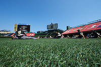 Players stretch in the outfield before the Under Armour All-American Game on August 15, 2015 at Wrigley Field in Chicago, Illinois. (Mike Janes/Four Seam Images)