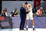 Real Madrid's coach Pablo Laso and Real Madrid's Gustavo Ayon during Liga Endesa match between Real Madrid and FC Barcelona Lassa at Wizink Center in Madrid, Spain. March 24, 2019.  (ALTERPHOTOS/Alconada)