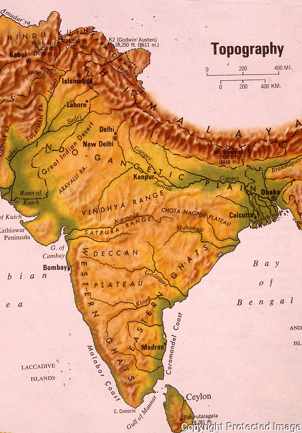 India:  Topographical Map.