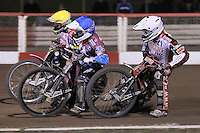 Heat 14: Linus Sundstrom (white), Rob Mear (blue) and Patrick Hougaard - Lakeside Hammers vs Peterborough Panthers - Sky Sports Elite League Speedway at Arena Essex Raceway, Purfleet - 14/09/12 - MANDATORY CREDIT: Gavin Ellis/TGSPHOTO - Self billing applies where appropriate - 0845 094 6026 - contact@tgsphoto.co.uk - NO UNPAID USE.