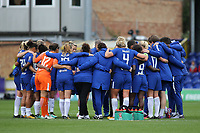 A group huddle for the Chelsea Ladies squad and their coaching team at the final whistle during Chelsea Ladies vs Liverpool Ladies, FA Women's Super League FA WSL1 Football at Kingsmeadow on 7th October 2017