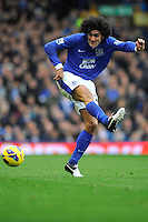 28.10.2012 Liverpool, England.   Marouane Fellaini of Everton  in action during the Premier League game between Everton and Liverpool  from Goodison Park ,Liverpool