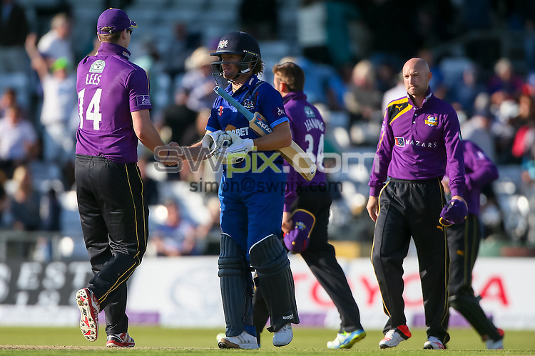Picture by Alex Whitehead/SWpix.com - 06/09/2015 - Cricket - Royal London One-Day Cup, Semi-Final - Yorkshire CCC v Gloucestershire CCC - Headingley Cricket Ground, Leeds, England - Yorkshire captain Alex Lees (L) congratulates Gloucestershire's Hamish Marshall (second left) after the game.