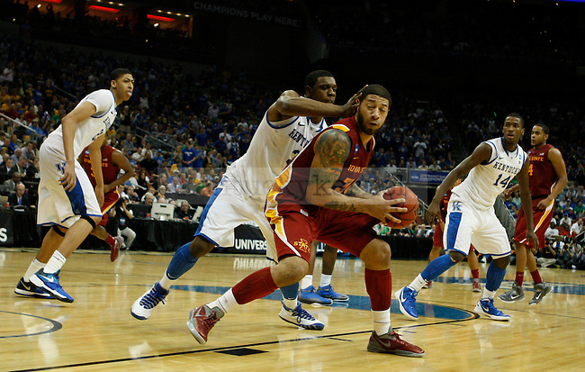 Terrence Jones guards Royce White in the second half of the University of Kentucky game against Iowa State University, in the third round of the NCAA Tournament, in the KFC Yum! Center, on Saturday, March 17, 2012 in Louisville, Ky. Photo by Latara Appleby | Staff