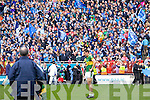 disappointed Kerry Players as Dublin celebrate winning the All Ireland Senior Football Final 2011 over Kerry in Croke Park on Sunday 18th September 2011.