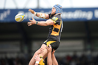 James Haskell of London Wasps wins a lineout during the Aviva Premiership match between London Wasps and Exeter Chiefs at Adams Park on Sunday 21st April 2013 (Photo by Rob Munro)