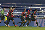 13 December 2015: Stanford's Jordan Morris (second player from left) celebrates his first minute goal with teammates. The Clemson University Tigers played the Stanford University Cardinal at Sporting Park in Kansas City, Kansas in the 2015 NCAA Division I Men's College Cup championship match.