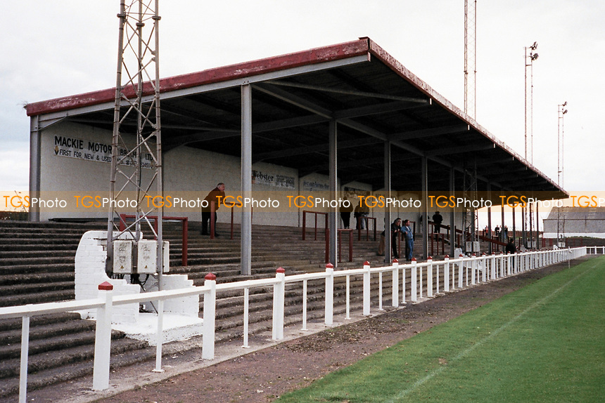Covered terracing at Arbroath FC Football Ground, Gayfield Park, Arbroath, Angus, Scotland, pictured on 25th July 1999