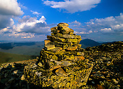 Rock cairn on the summit of Bondcliff in the Pemigewasset Wilderness of the White Mountains, New Hampshire USA.