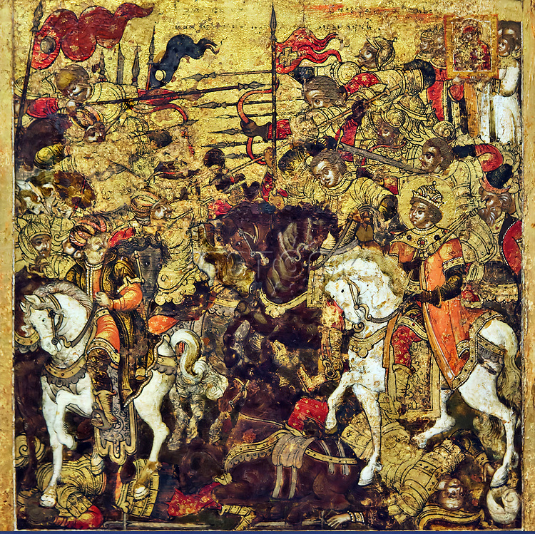 Battle of the Byzantine Emperor Manuel I Komnenos against the Saracens in 1164.