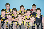 PLAYED: Currow National School who competed against Castleisland BNS in the District NS Boys Senior A final at the St Mary's basketball blitz in Castleisland Community Centre on Sunday were front: Jamie Breen, James Nolan and Brian Daly. Back: Patrick McMahon, Derek Breen, Garrett O'Connor, CJ O'Sullivan, Richard Brosnan, Eamon O'Connor and Niall Reidy.   Copyright Kerry's Eye 2008