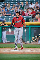 Ryder Jones (8) of the Sacramento River Cats bats against the Salt Lake Bees at Smith's Ballpark on May 17, 2018 in Salt Lake City, Utah. Salt Lake defeated Sacramento 12-11. (Stephen Smith/Four Seam Images)