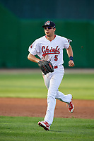 Peoria Chiefs left fielder Dylan Carlson (5) jogs back to the dugout during a game against the West Michigan Whitecaps on May 9, 2017 at Dozer Park in Peoria, Illinois.  Peoria defeated West Michigan 3-1.  (Mike Janes/Four Seam Images)