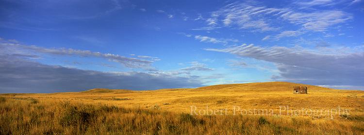 Old house on the prairies, Grasslands National Park, Saskatchewan. Sunrise, Panoramic