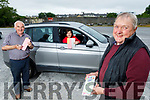 Member of the Castleisland Race Committee launch their Drive Through Bingo in Castleisland on Tuesday.  <br /> Front right: John Ryan (Treasurer).<br /> In the car: Patricia Maher and Charlie Farley (Chairperson).