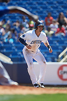 Lake County Captains right fielder David Armendariz (15) leads off first base during a game against the South Bend Cubs on July 27, 2016 at Classic Park in Eastlake, Ohio.  Lake County defeated South Bend 5-4.  (Mike Janes/Four Seam Images)