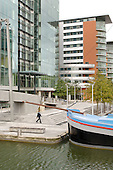 The Point, a new office development in Paddington Basin, West London. The basin, a spur on the Grand Union canal near Little Venice, has been renamed Paddington Waterside.