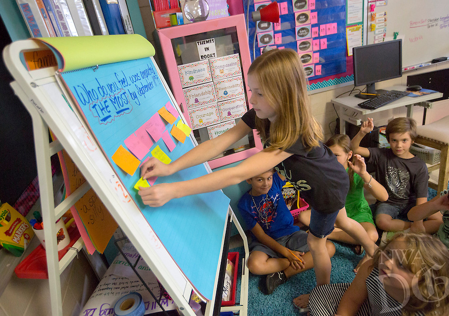 NWA Democrat-Gazette/JASON IVESTER<br /> Kylie Brown, Sugar Creek Elementary third-grader, adds her input on &quot;Who do you feel was impacted the most by September 11th?&quot; on Friday, Sept. 9, 2016, in Dawn Patafie's class at the Bentonville school. Patafie, who is from New York, was leading a lesson on the 9/11 attacks to her class.