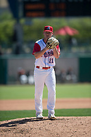 Stockton Ports relief pitcher Jared Poche (21) during a California League game against the San Jose Giants on April 9, 2019 in Stockton, California. San Jose defeated Stockton 4-3. (Zachary Lucy/Four Seam Images)