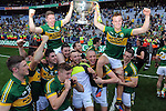 Joint Captains Fionn Fitzgerald and Kieran O'Leary celebrate after winning the All-Ireland Football Final against Donegal in Croke Park 2014.<br /> Photo: Don MacMonagle<br /> <br /> <br /> Photo: Don MacMonagle <br /> e: info@macmonagle.com