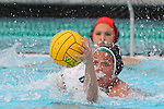Manhattan Beach, CA 02/16/11 - Sara Booth (Mira Costa #19) and Melissa Balding (Edison #4) in action during the 2011 first round CIF girls waterpolo playoffs between Edison and Mira Costa.