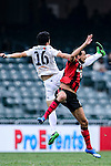 FC Seoul Forward Dejan Damjanovic (l) fights for the ball with Auckland City Defender Daewook Kim (l) during the 2017 Lunar New Year Cup match between Auckland City FC (NZL) and FC Seoul ((KOR) on January 28, 2017 in Hong Kong, Hong Kong. Photo by Marcio Rodrigo Machado/Power Sport Images