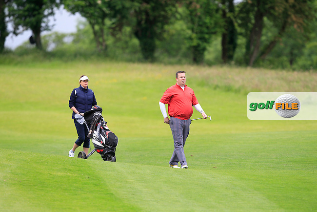 Keith Daniels (Loughrae) walking down the 1st fairway during Round 3 of the Irish Mid-Amateur Open Championship at New Forest on Sunday 21st June 2015.<br /> Picture:  Thos Caffrey / www.golffile.ie