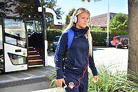 Houston, TX - Sunday Oct. 09, 2016: Line Sigvardsen Jensen prior to a National Women's Soccer League (NWSL) Championship match between the Washington Spirit and the Western New York Flash at BBVA Compass Stadium.