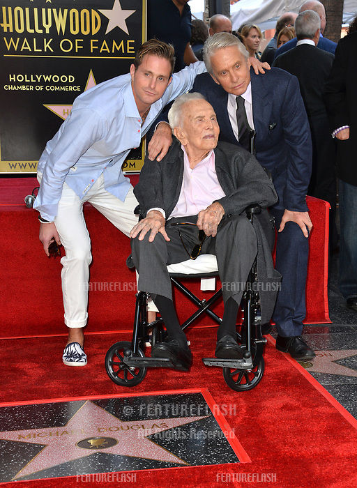 LOS ANGELES, CA. November 06, 2018: Kirk Douglas, Michael Douglas & Cameron Douglas at the Hollywood Walk of Fame Star Ceremony honoring actor Michael Douglas.<br /> Pictures: Paul Smith/Featureflash