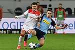 15.02.2020, Merkur Spiel-Arena, Duesseldorf, GER, 1. BL, Fortuna Duesseldorf vs. Borussia Moenchengladbach, DFL regulations prohibit any use of photographs as image sequences and/or quasi-video<br /> <br /> im Bild / picture shows: v. li. im Zweikampf Matthias Zimmermann (#25, Fortuna Duesseldorf) Florian Neuhaus (#32, Borussia Moenchengladbach) <br /> <br /> Foto © nordphoto/Mauelshagen