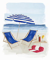 Two deck chairs under parasol on beach