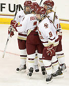 Meagan Mangene (BC - 24), Dru Burns (BC - 7), Taylor Wasylk (BC - 9) and Kelli Stack (BC - 16) celebrate Stack's goal. - The Boston College Eagles defeated the visiting University of Connecticut Huskies 3-0 on Sunday, October 31, 2010, at Conte Forum in Chestnut Hill, Massachusetts.