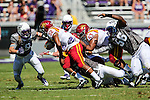 Iowa State Cyclones running back David Montgomery (32) in action during the game between Iowa State Cyclones and the TCU Horned Frogs at the Amon G. Carter Stadium in Fort Worth, Texas.