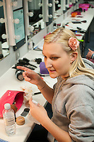 """Dancer, Kerry Peart, does her make up.  Special Olympics Surrey put on a show,   """"Beyond the Stars"""", at the Rose Theatre, Kingston upon Thames to raise money for the  SOGB team.  The Special Olympics are for athletes with learning disabilities."""