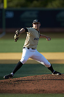 Wake Forest Demon Deacons relief pitcher Jared Shuster (41) in action against the Liberty Flames at David F. Couch Ballpark on April 25, 2018 in  Winston-Salem, North Carolina.  The Demon Deacons defeated the Flames 8-7.  (Brian Westerholt/Four Seam Images)
