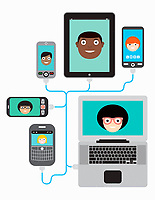 Lots of people video conferencing using different computer devices