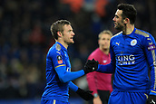 18th March 2018, King Power Stadium, Leicester, England; FA Cup football, quarter final, Leicester City versus Chelsea; Jamie Vardy of Leicester City celebrates with Vicente Iborra after scoring as he makes it 1-1 in minute 76