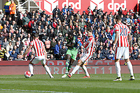 Swansea City's Bafetimbi Gomis shoots during the Barclays Premier League match between Stoke City and Swansea City played at Britannia Stadium, Stoke on April 2nd 2016