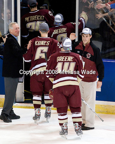 Jerry York (BC - Head Coach), Tim Kunes (BC - 6), Nate Gerbe (BC - 9), Matt Greene (BC - 14), Mike Feeley - The Boston College Eagles defeated the Miami University RedHawks 4-3 in overtime on Sunday, March 30, 2008 in the NCAA Northeast Regional Final at the DCU Center in Worcester, Massachusetts.