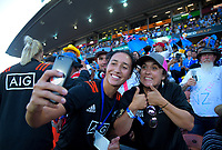 Black Ferns captain Sarah Goss takes a selfie with fans after the Fast Four final on day two of the 2019 HSBC World Sevens Series Hamilton at FMG Stadium in Hamilton, New Zealand on Sunday, 27 January 2019. Photo: Dave Lintott / lintottphoto.co.nz