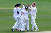 Simon Harmer of Essex celebrates taking the wicket of Rilee Rossouw during Essex CCC vs Hampshire CCC, Specsavers County Championship Division 1 Cricket at The Cloudfm County Ground on 21st May 2017