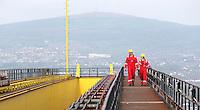 JOHANN MULLER VISITS HARLAND &amp; WOLFF BELFAST -    Wednesday 30th April 2014<br /> <br /> Mariska Muller and Johann Muller on top of the Samson crane during their Harland &amp; Wolff shipyard in Belfast.<br /> <br /> Mandatory Credit - Photo by John Dickson - DICKSONDIGITAL