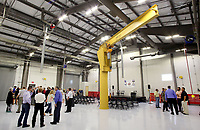 NWA Democrat-Gazette/DAVID GOTTSCHALK   A five ton Jib Crane stands near the center of the Diesel Lab Tuesday, August 8, 2017 inside the new Gentry Career and Technical Education Center  on the high school campus. Guests, dignitaries and school personnel attended opening ceremonies at the center designed for the Bentonville, Decatur, Gentry and the Gravette School districts. The center will concentrate on diesel technology and medical field professions.
